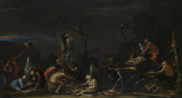 Black Buck Painting - Witches At Their Incantations by Salvator Rosa