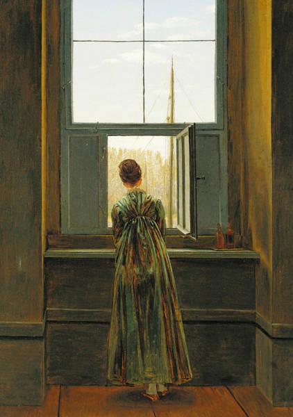 18th Century Wall Art - Painting - Woman At A Window by Caspar David Friedrich