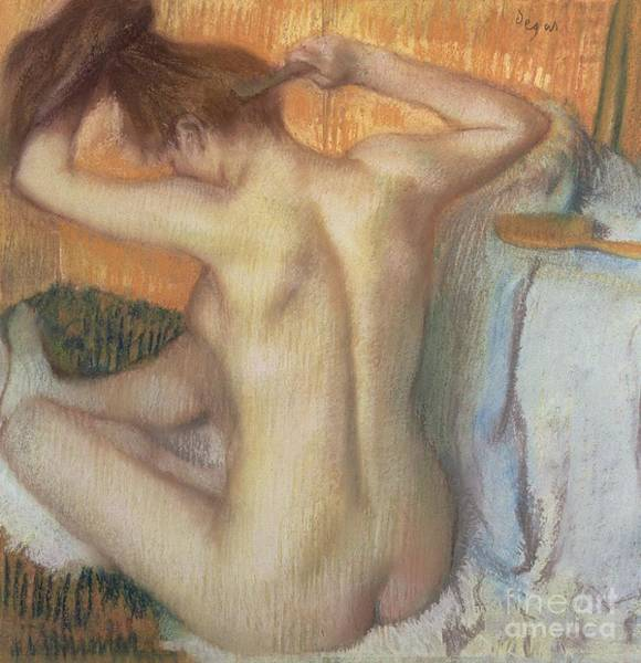 Figure Wall Art - Pastel - Woman Combing Her Hair by Edgar Degas
