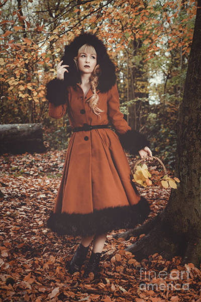 Wall Art - Photograph - Woman In Autumn Forest by Amanda Elwell