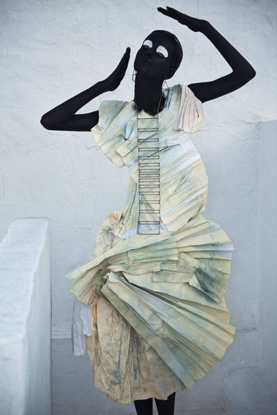 Hammamet Photograph - Woman With Black Boby Paint In Paper Dress by Veronica Azaryan