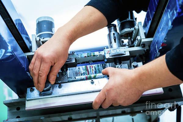 Electronic Ink Wall Art - Photograph - Worker Setting Print Screening Metal Machine by Michal Bednarek