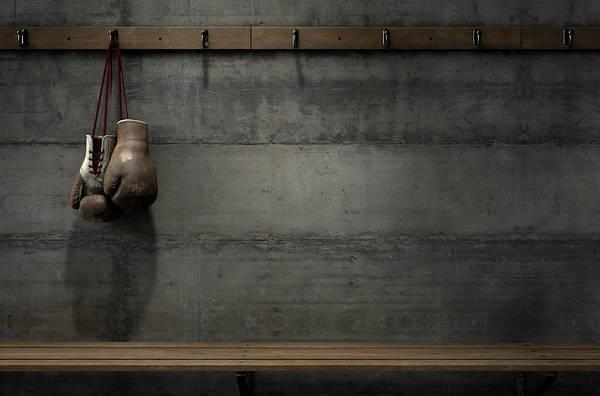 Gloves Digital Art - Worn Vintage Boxing Gloves Hanging In Change Room by Allan Swart