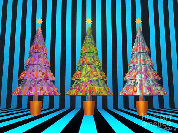 Digital Art - 3 Xmas Trees, No. 3 by Walter Neal
