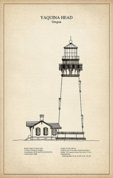 Oregon Coast Digital Art - Yaquina Head Lighthouse - Oregon - Blueprint Drawing by JESP Art and Decor