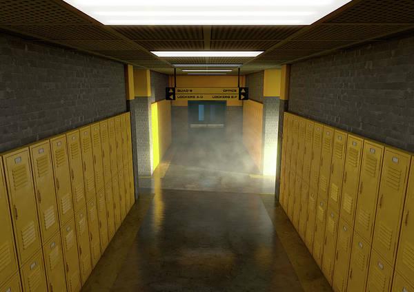 Wall Art - Digital Art - Yellow School Lockers Dirty by Allan Swart