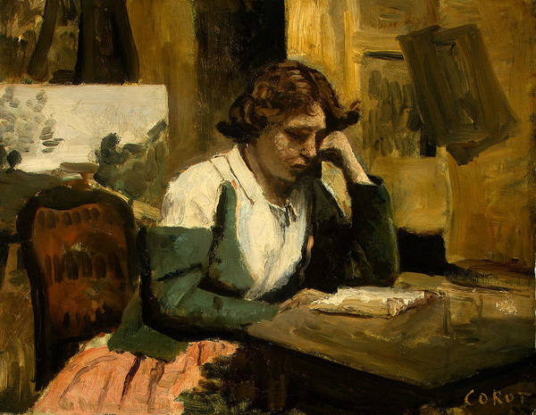 Painting - Young Girl Reading by Jean-Baptiste-Camille Corot