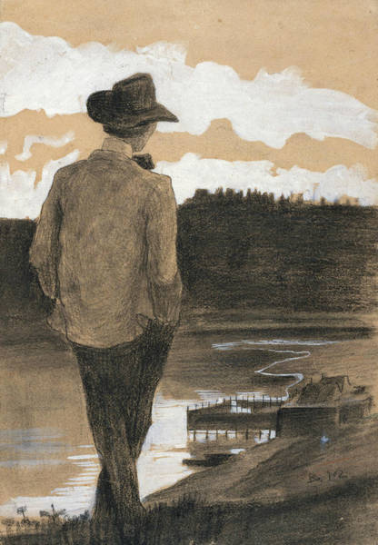 20th Century Man Drawing - Young Man On A Riverbank by Umberto Boccioni