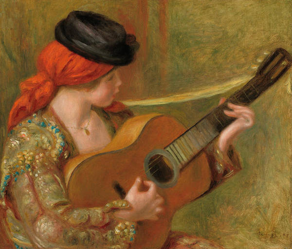 Spanish Guitar Wall Art - Painting - Young Spanish Woman With A Guitar by Pierre-Auguste Renoir