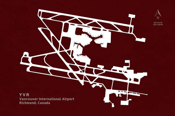 Vancouver International Airport Wall Art - Digital Art - Yvr Vancouver International Airport In Richmond Canada Runway Si by Jurq Studio