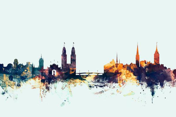 Switzerland Digital Art - Zurich Switzerland Skyline by Michael Tompsett