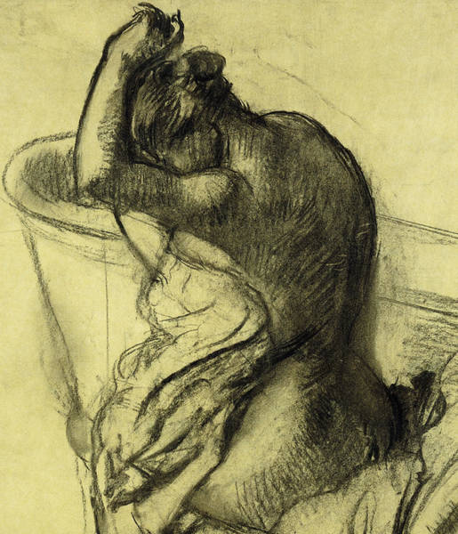 Sensual Drawing - After The Bath by Edgar Degas
