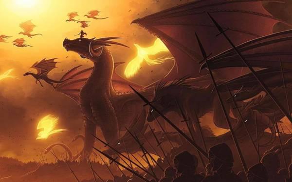 Sunset Digital Art - Dragon by Super Lovely