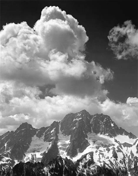 304638 Clouds Over Mt. Stuart Bw Art Print