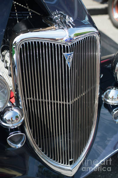 Firebird Photograph - 30s Vintage Ford Hotrod With Chrome Greyhound by Mike Reid