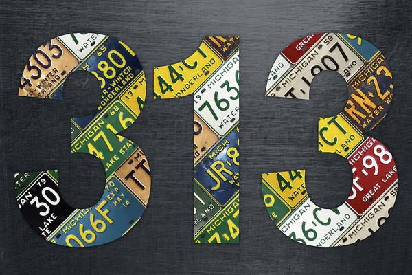 Wall Art - Mixed Media - 313 Area Code Detroit Michigan Recycled Vintage License Plate Art by Design Turnpike