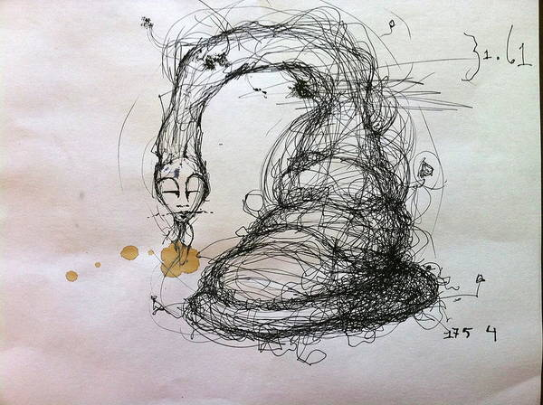 Pen And Ink Mixed Media - 3161 Feeling Slow Original by Mark M  Mellon