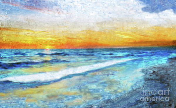 Painting - Seascape Sunrise Impressionist Digital Painting 31a by Ricardos Creations