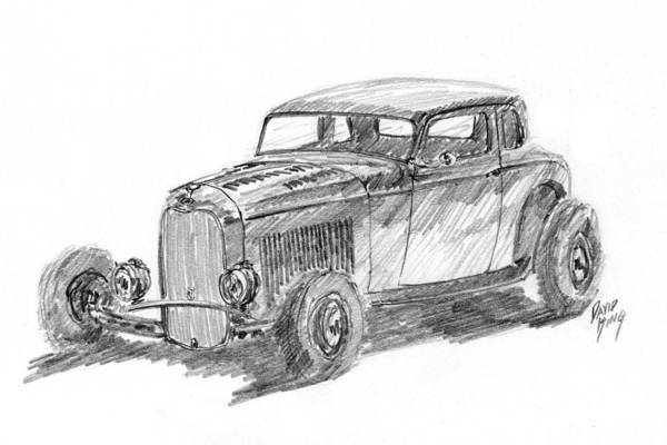 Drawing - 32 Ford Hot Rod Sketch by David King