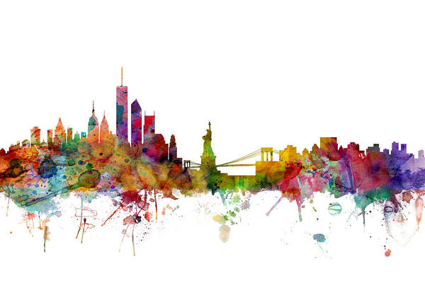 Watercolours Wall Art - Digital Art - New York Skyline by Michael Tompsett