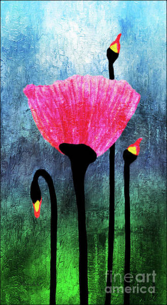 Painting - 32a Expressive Floral Poppies Painting Digital Art by Ricardos Creations
