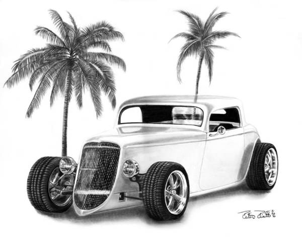 Hot Rod Drawing - 33 Ford Coupe by Peter Piatt