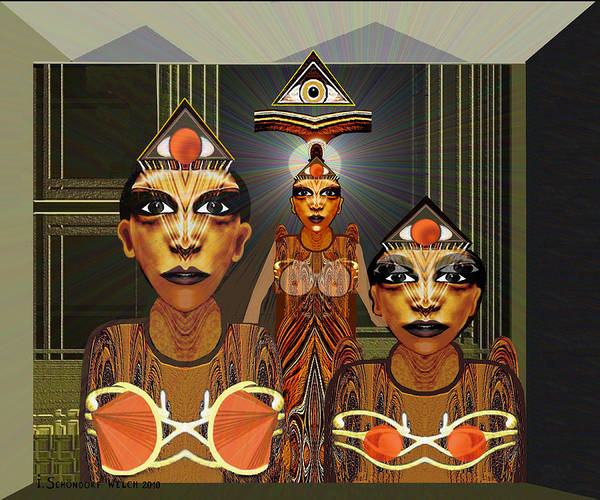 Outfit Digital Art - 338  Aliens With Egyptian Touch V by Irmgard Schoendorf Welch