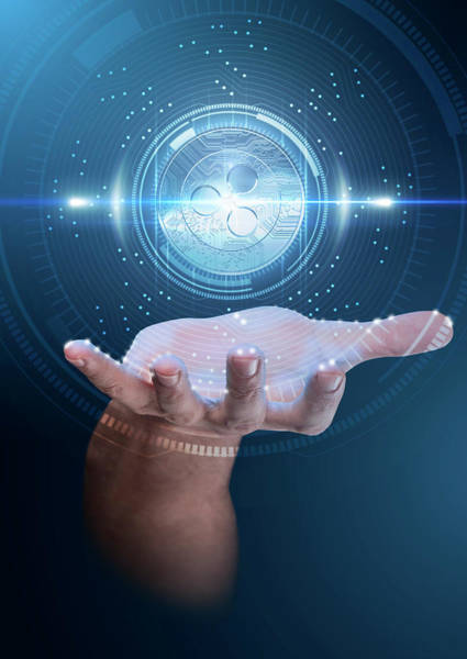 Ripples Digital Art - Hand With Cryptocurrency Hologram by Allan Swart
