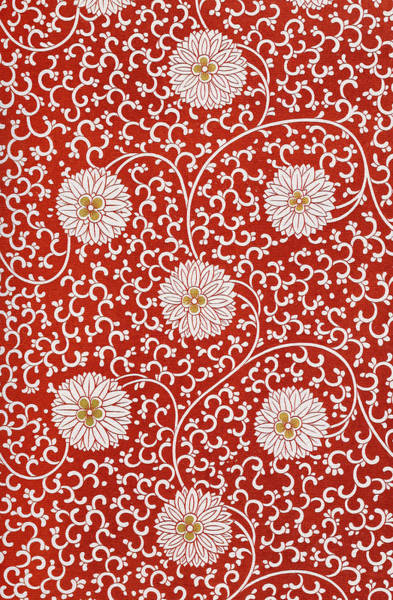 Boho Chic Drawing - Antique Red Floral Illustration Contemporary Wall Art Prints by Wall Art Prints
