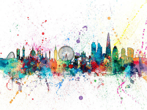 England Digital Art - London England Skyline by Michael Tompsett