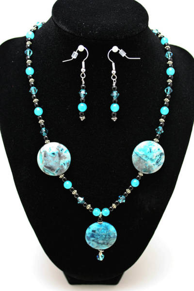 Sterling Silver Wall Art - Jewelry - 3508 Crazy Lace Agate Necklace And Earrings by Teresa Mucha