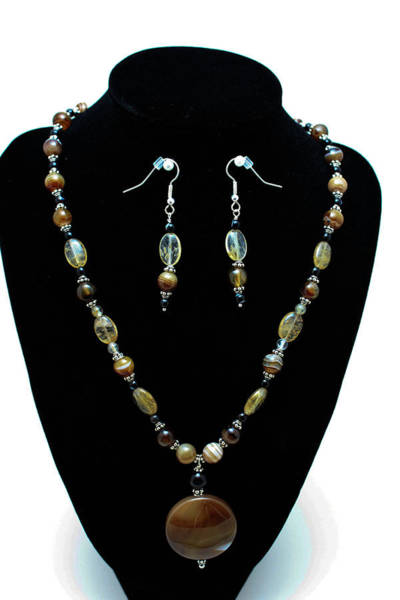 Sterling Silver Wall Art - Jewelry - 3509 Amber Striped Onyx Set by Teresa Mucha