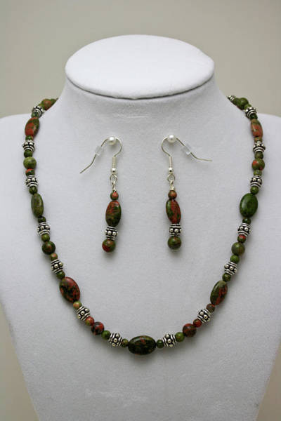 Sterling Silver Jewelry Wall Art - Jewelry - 3525 Unakite Necklace And Earring Set by Teresa Mucha