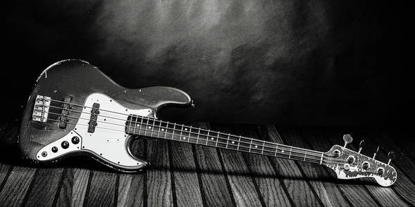 Photograph - 353.1834 Fender Red Jazz Bass Guitar In Bw by M K Miller
