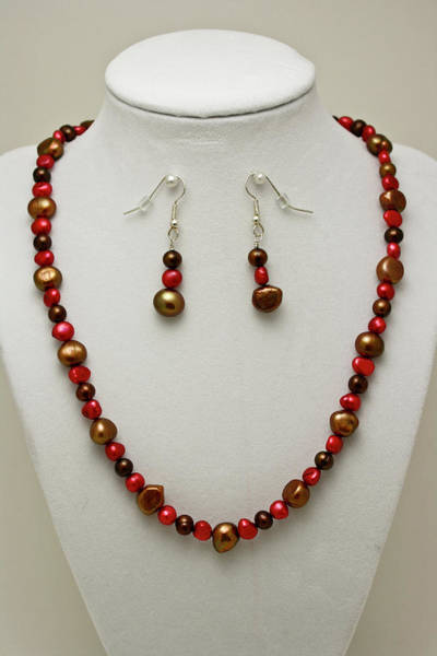 3536 Freshwater Pearl Necklace And Earring Set Art Print