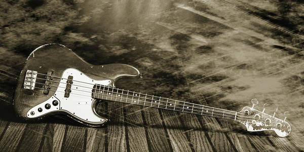 Photograph - 354.1834 Fender Red Jazz Bass Guitar In Bw by M K Miller