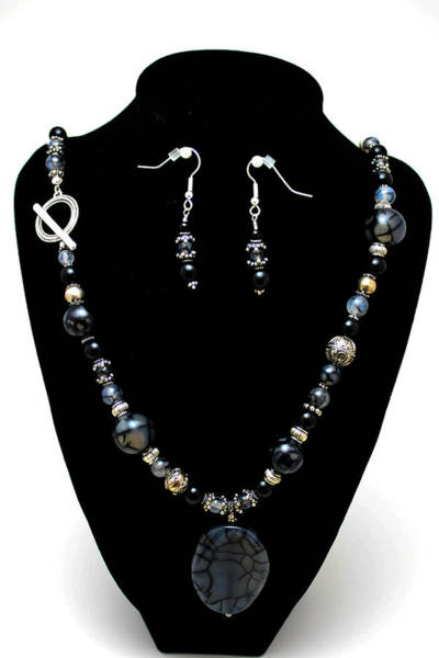 Sterling Silver Jewelry Wall Art - Jewelry - 3545 Black Cracked Agate Necklace And Earring Set by Teresa Mucha
