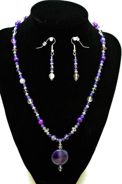 Sterling Silver Wall Art - Jewelry - 3546 Purple Veined Agate Set by Teresa Mucha