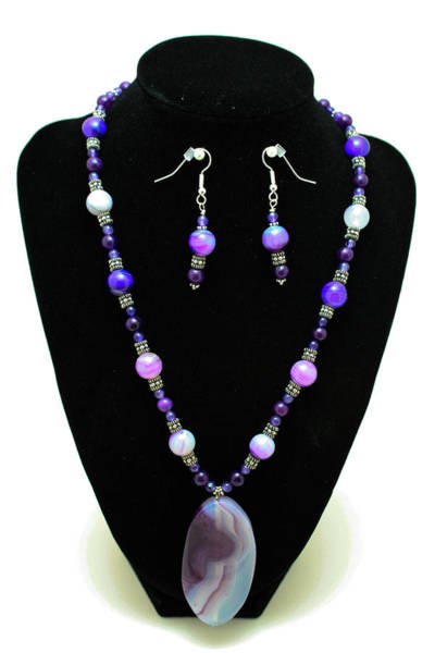 Sterling Silver Wall Art - Jewelry - 3547 Purple Veined Agate Set by Teresa Mucha