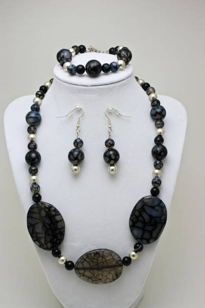Sterling Silver Jewelry Wall Art - Jewelry - 3548 Cracked Agate Necklace Bracelet And Earrings Set by Teresa Mucha