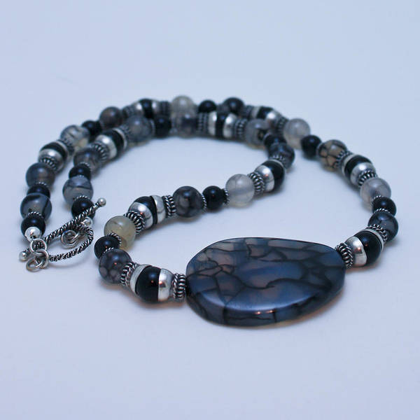 Sterling Silver Jewelry Wall Art - Jewelry - 3552 Cracked Agate Necklace by Teresa Mucha