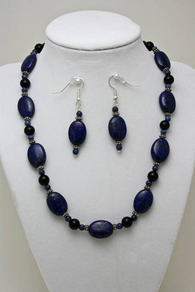 Sterling Silver Jewelry Wall Art - Jewelry - 3555 Lapis Lazuli Necklace And Earring Set by Teresa Mucha