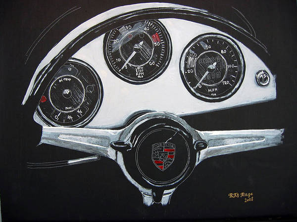 Painting - 356 Porsche Dash by Richard Le Page