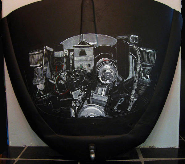 Painting - 356 Porsche Engine On A Vw Cover by Richard Le Page