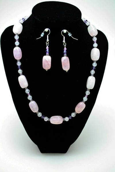 Sterling Silver Jewelry Wall Art - Jewelry - 3560 Rose Quartz Necklace And Earrings Set by Teresa Mucha