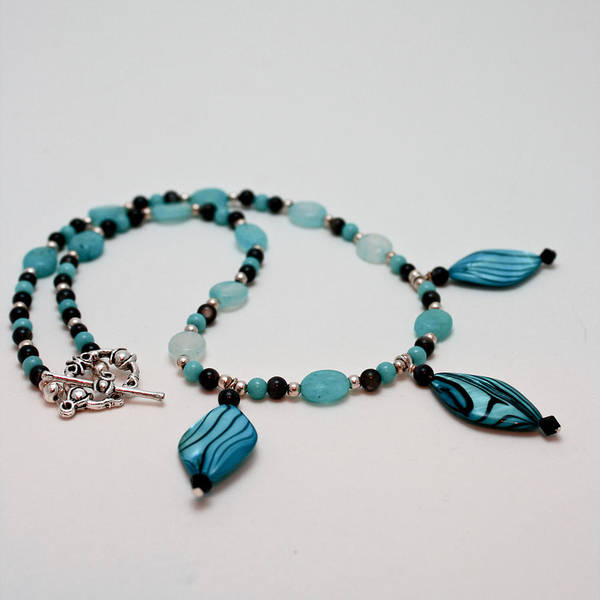 Sterling Silver Jewelry Wall Art - Jewelry - 3564 Shell And Semi Precious Stone Necklace by Teresa Mucha