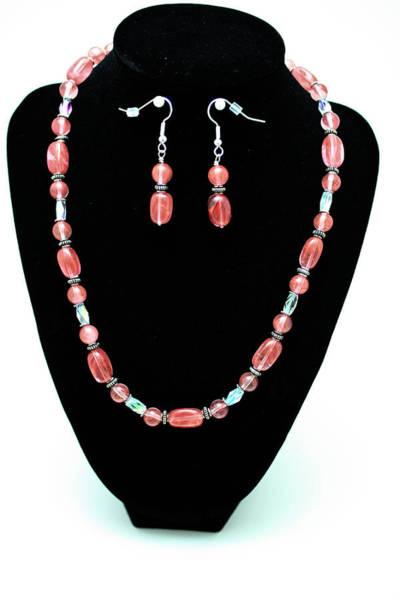 Sterling Silver Jewelry Wall Art - Jewelry - 3570 Cherry Quartz Czech Glass Set by Teresa Mucha