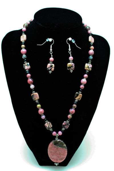 Sterling Silver Wall Art - Jewelry - 3571 Rhodonite Set by Teresa Mucha