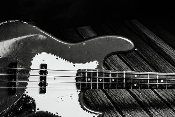 Photograph - 357.1834 Fender Red Jazz Bass Guitar In Bw by M K Miller