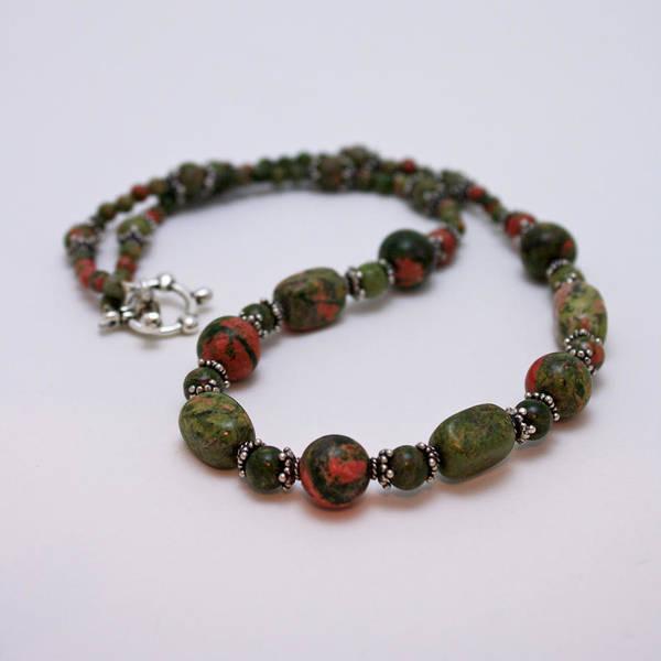Sterling Silver Jewelry Wall Art - Jewelry - 3579 Unakite Necklace  by Teresa Mucha